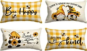Molili Lumbar Pillow Covers 12x20 Set of 4, Summer Linen Throw Pillow Cover Yellow Bee Honey, Decorative Cushion Case for Sofa Bed Outdoor Holiday Home Decor