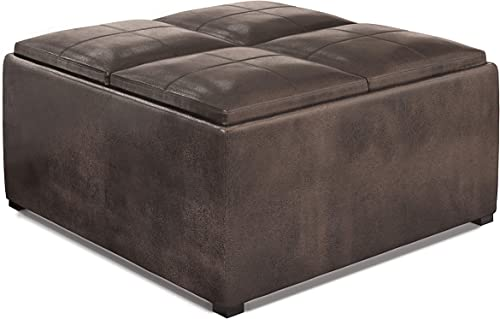 Simpli Home Avalon 35 inch Wide Square Coffee Table Lift Top Storage Ottoman, Cocktail Footrest Stool in Upholstered Distressed Brown Faux Air Leather for the Living Room, Contemporary