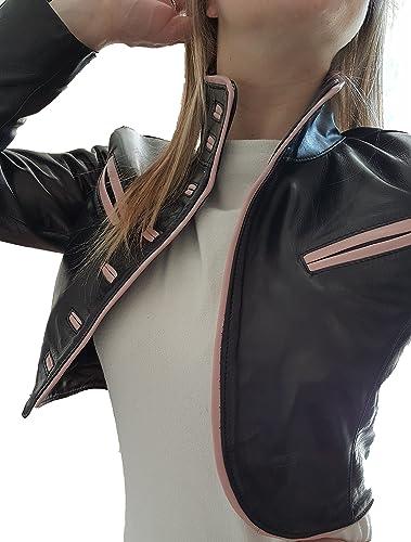Creazioniinpelle chaqueta de cuero auténtico 100% muy suave de mujeres hecho en italia cr21