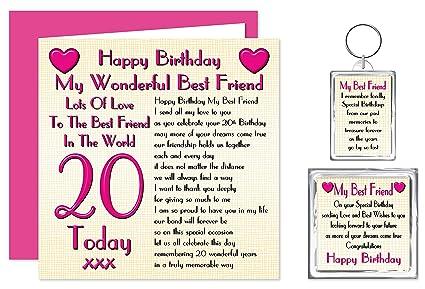 Mejor amigo feliz cumpleaños XX Set de regalo tarjeta - , llavero ...