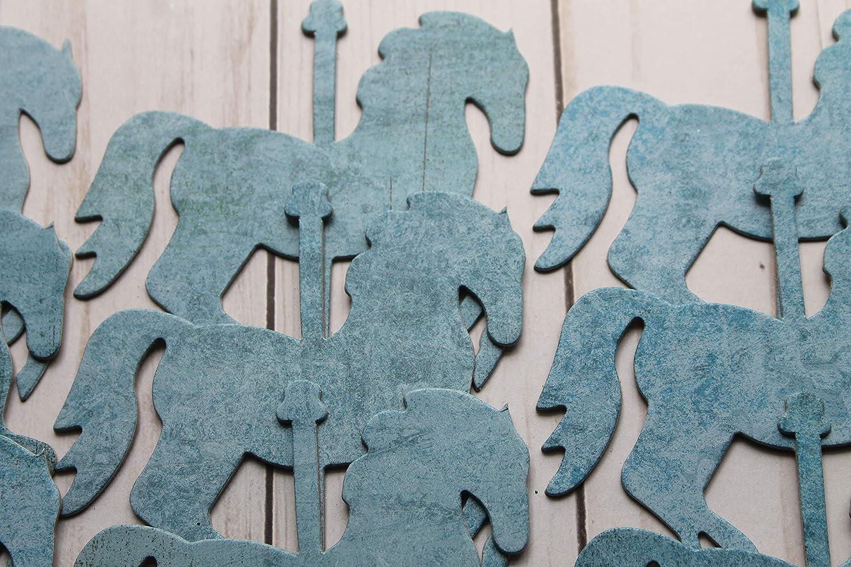 30 Carousel HORSES dark blues chipboard die cuts 4 x 3 3//8