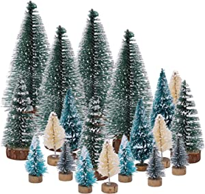 URATOT 30 Pieces Artificial Mini Christmas Trees Plastic Sisal Snow Frost with Trees Wood Base for Christmas Table Decor