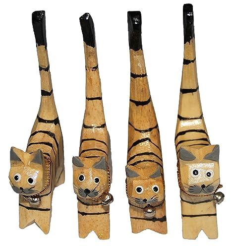 Juego de 4 Anillo Gatos/Gatos/Alto cola Buzón de madera 11 cm con