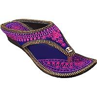 Femme Royale Women's Zari Embroidery Work Velvet Sandals