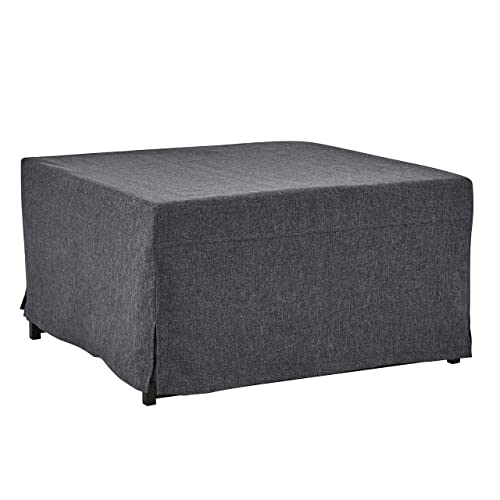 Handy Living Space Saving Folding Ottoman Sleeper Guest Bed, Charcoal Black, Twin
