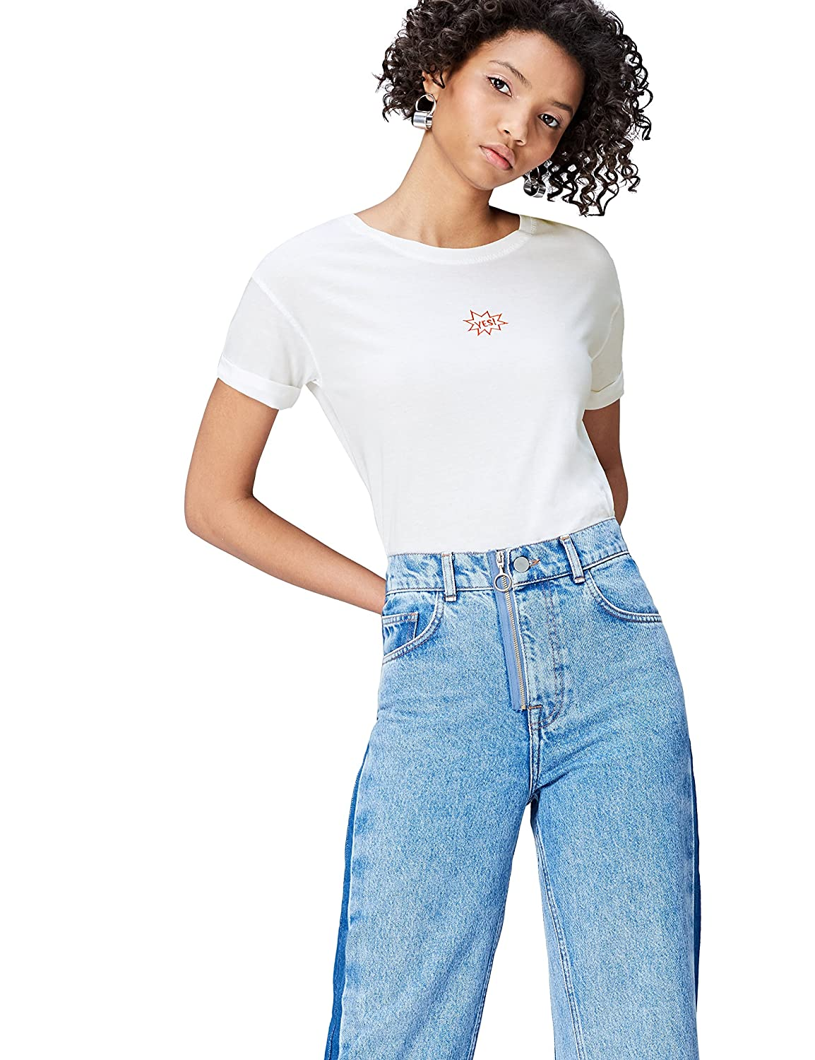 Find Women's T Shirt With Embroidered 'yes' Slogan by