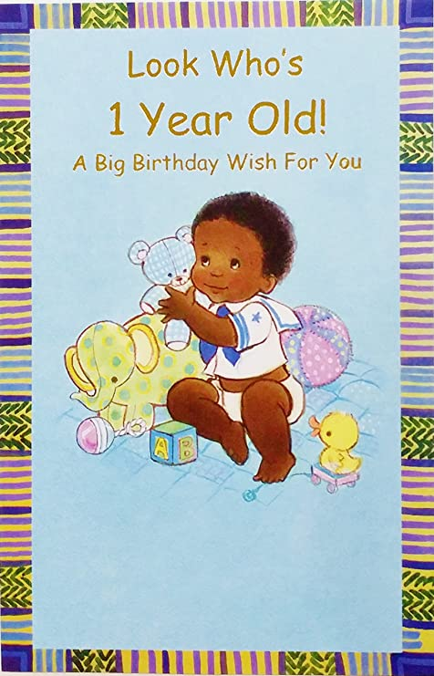 Amazon Look Whos 1 Year Old A Big 1st Birthday Wish For You Greeting Card Black African American One First Baby Boy Office Products