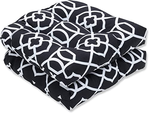 Pillow Perfect Outdoor Indoor Kirkland Tufted Seat Cushions Round Back , 19 x 19 , Black, 2 Pack