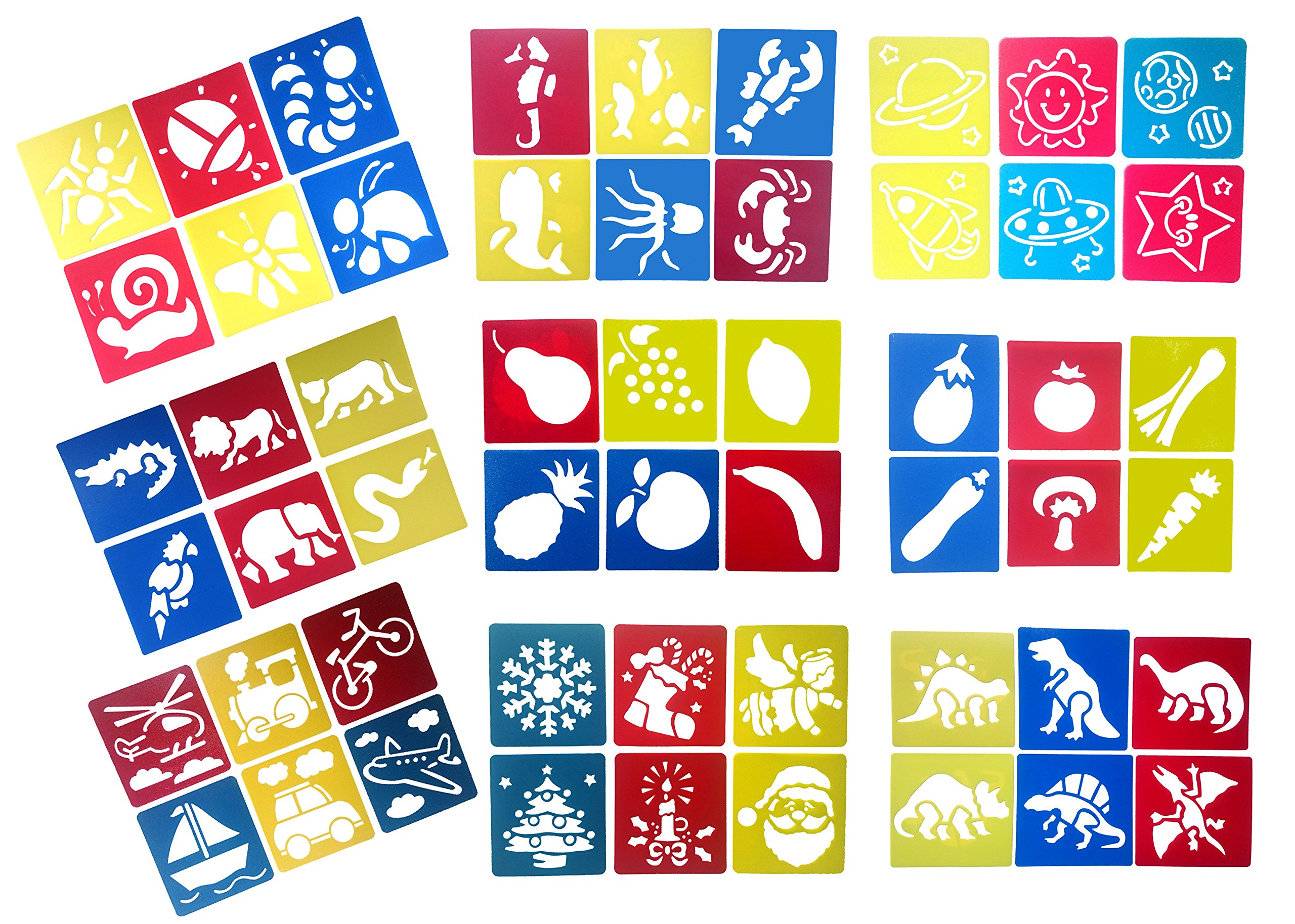 Z-Color 9 Packs(54 pieces) Washable Plastic Children's Drawing Template Board Set Toys Kids Painting Stencils Animal Fruit Transport