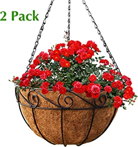 Gray Bunny 2 Pack, Metal Hanging Planter Basket with Coco Liner, 14 in Diameter, Hanging Flower Pot, Round Wire Plant Holder, Watering Basket, Chain Porch Decor, for Lawn, Patio, Garden, Deck