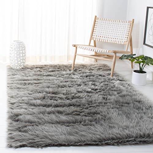 Best living room rug: Safavieh Faux Sheep Skin Collection FSS235D Silken Glam 2.35-inch Thick Area Rug