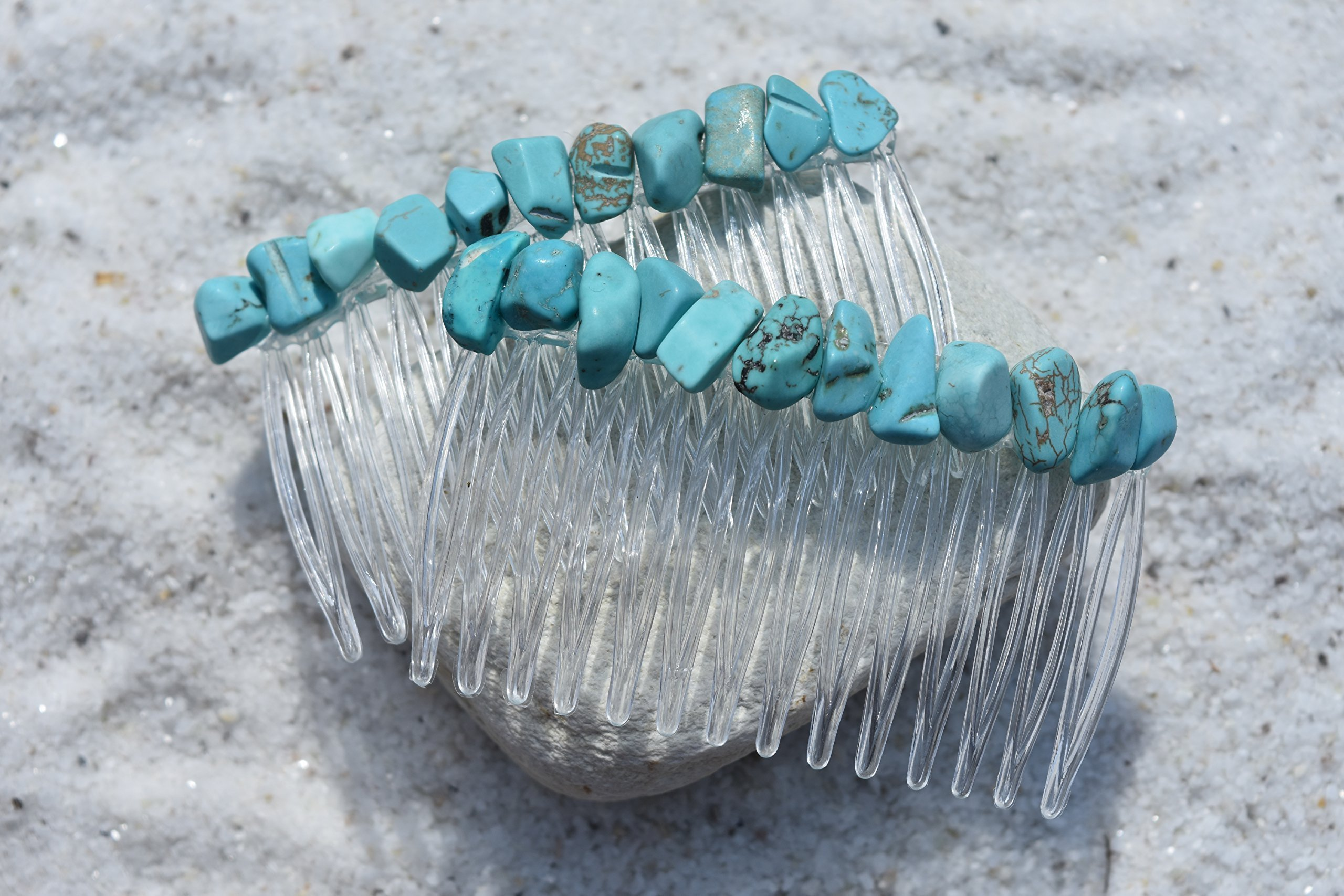 Turquoise Stone Hair Combs (Qty of 2)