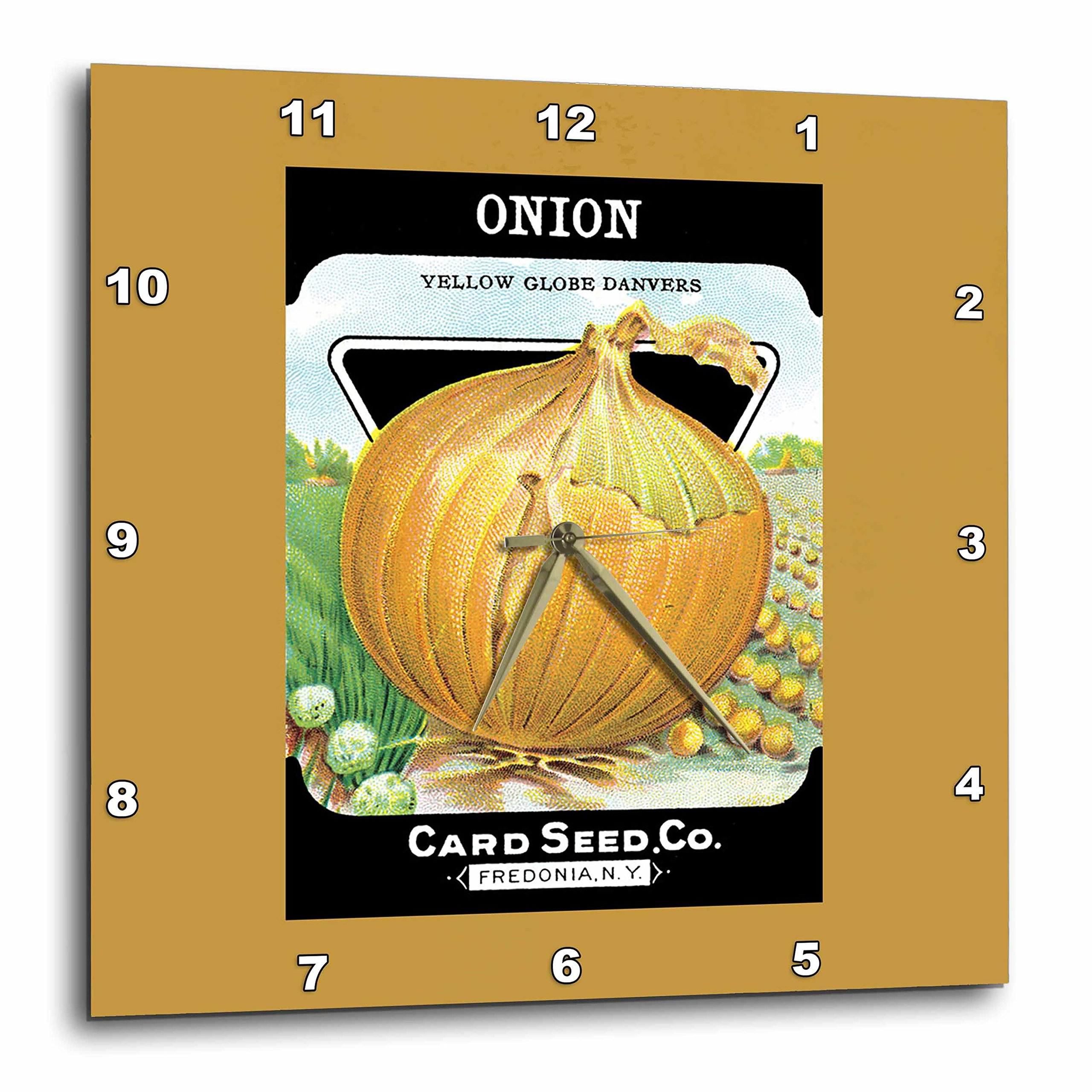 3dRose Onion Yellow Globe Danvers Vegetable Seed Packet Reproduction-Wall Clock, 10-inch (DPP_170463_1) by 3dRose