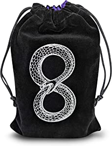 MIRIYAN Mystical Ouroboros Tarot & Dice Bag I Velvet & Satin Drawstring Pouch Ideal Size for Tarot & Oracle Cards, DND, D&D, Dungeons and Dragons Accessories, Runes & Jewelry I Travel & Gift Bag