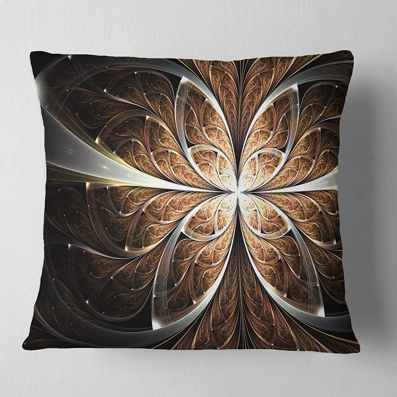 Designart CU11815-26-26 Fractal Flower Brown Black Digital Art' Floral Cushion Cover for Living Room, Sofa Throw Pillow 26 in. x 26 in. in, Insert Printed On Both Side