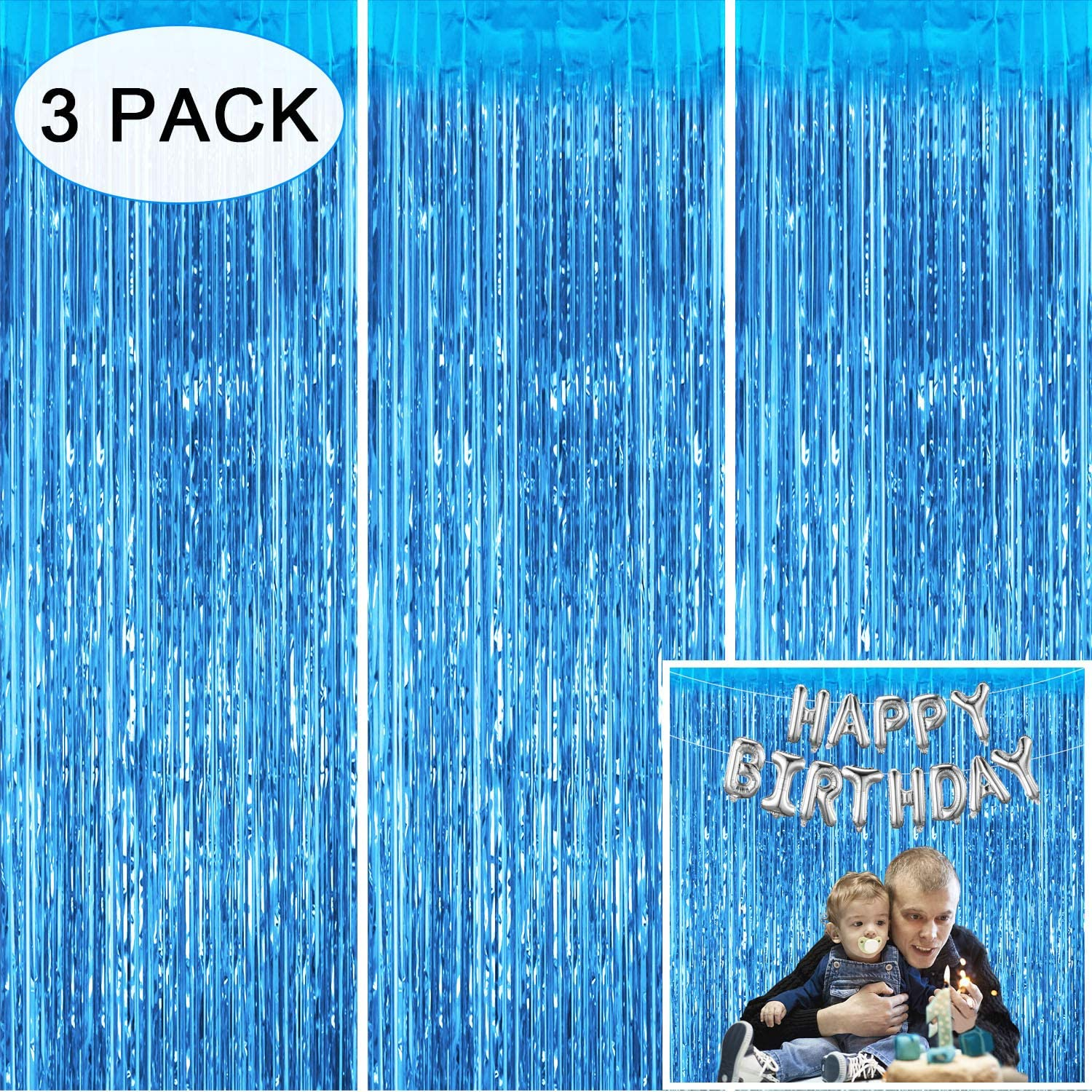 Tifeson Tinsel Foil Fringe Curtains Backdrop Blue, 3 Pack 3.2 x 8.3 ft Metallic Curtain Party Decoration for Frozen Birthday Baby Shower for Boy Graduation Party Wall Backdrop