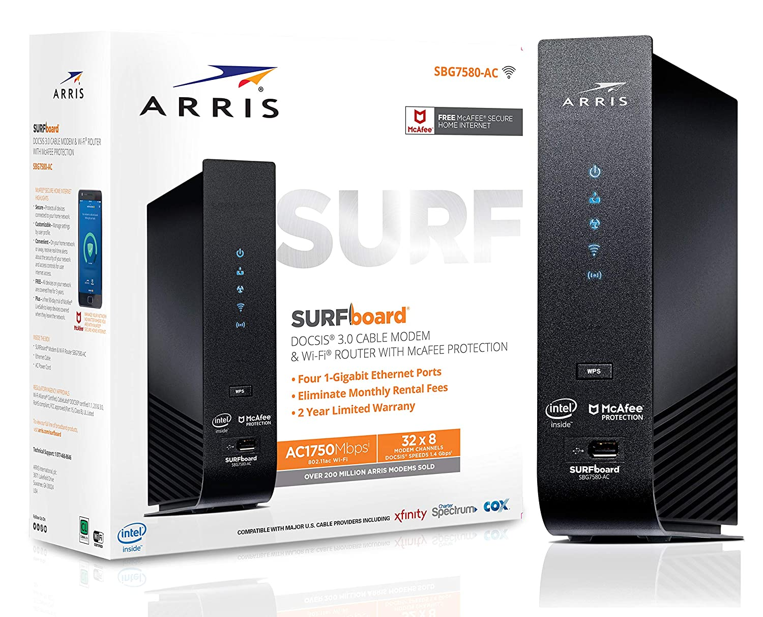 ARRIS SURFboard (32x8) DOCSIS 3.0 Cable Modem Plus AC1750 Dual Band Wi-Fi Router, 1.4 Gbps Max Speed, Certified for Comcast Xfinity, Spectrum, Cox & more (SBG7580AC McAfee)