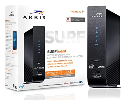 ARRIS SURFboard (32x8) DOCSIS 3 0 Cable Modem Plus AC1750 Dual Band Wi-Fi  Router, 1 4 Gbps Max Speed, Certified for Comcast Xfinity, Spectrum, Cox &