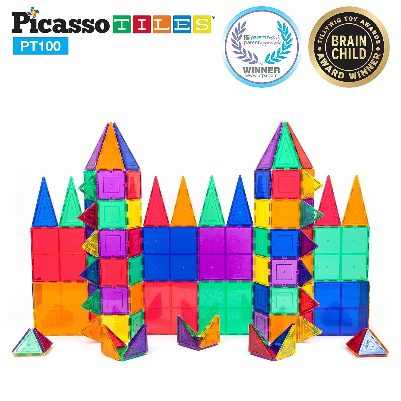 Amazon.com: PicassoTiles 100 Piece Set 100pcs Magnet Building Tiles Clear  Magnetic 3D Building Blocks Construction Playboards, Creativity beyond  Imagination ...
