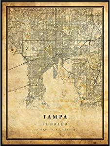 Tampa map Vintage Style Poster Print | Old City Artwork Prints | Antique Style Home Decor | Florida Wall Art Gift | map Wall Decor 18x24