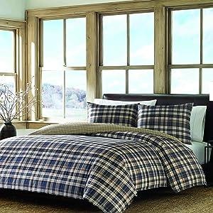 Eddie Bauer Home | Port Gamble Collection | 100% Cotton Soft & Cozy Premium Quality Plaid Duvet Cover Matching Shams, 3-Piece Bedding Set, Machine Washable, King, Blue