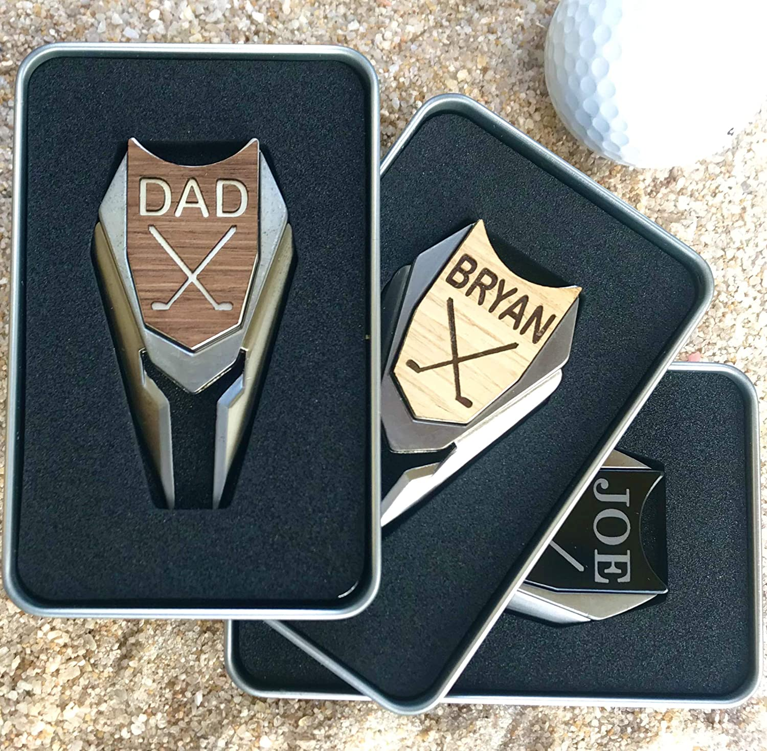 B015OW5EM2 Divot Tool Golf Ball Marker in Custom Metal Gift Box REAL Wood Personalized Golfers Markers 912uQrtuCNL