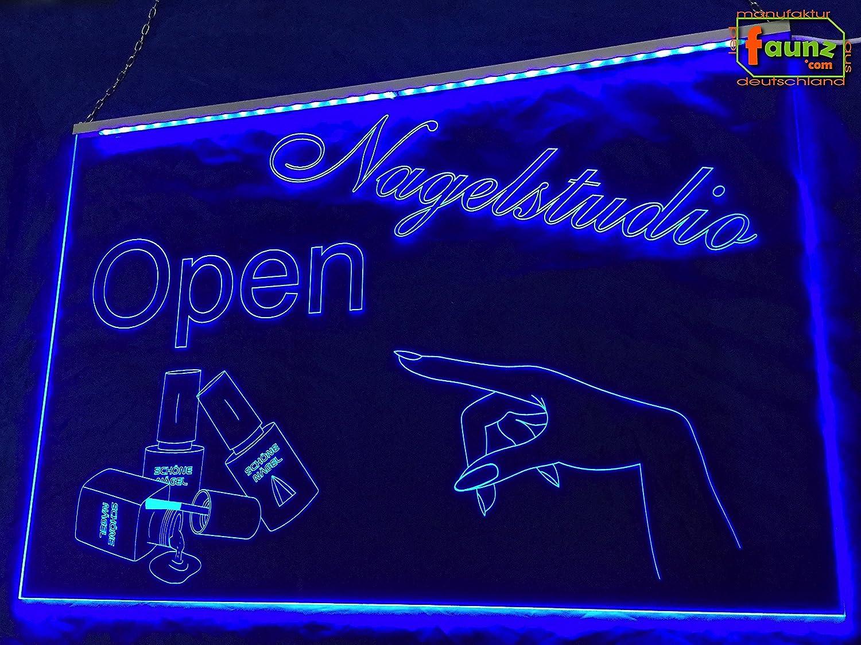 LED Cartel uñas Studio Open abierto/abierto Azul Opaco sobre ...