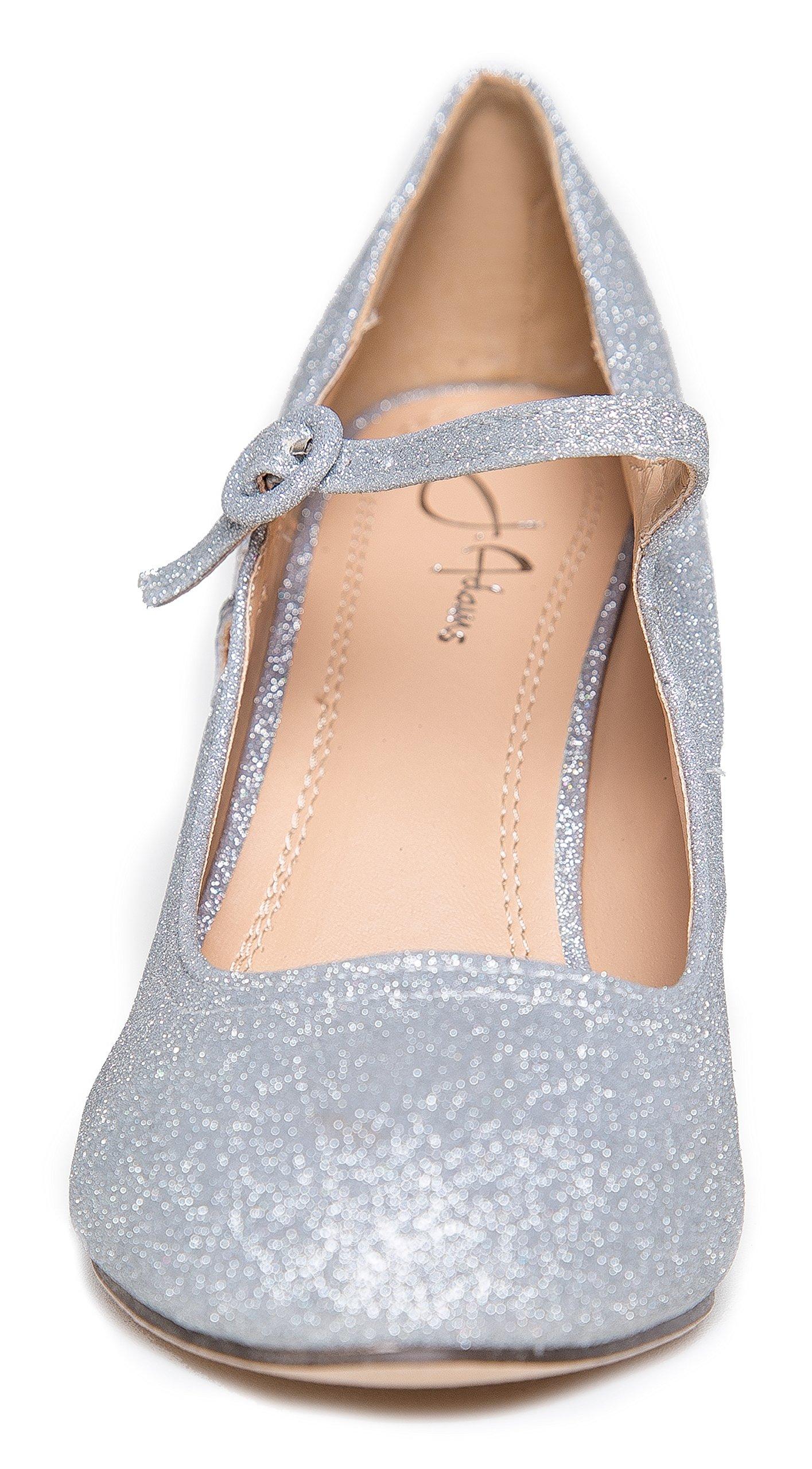 Pixie Mary Jane Heel, Silver Glitter, 8 B(M) US by ZooShoo (Image #4)