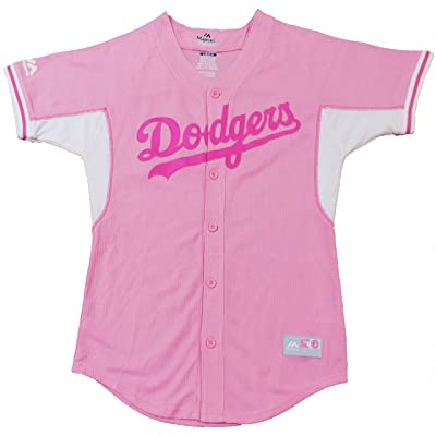 OuterStuff Los Angeles Dodgers Girls Toddler Pink White Batting Practice Blank Jersey
