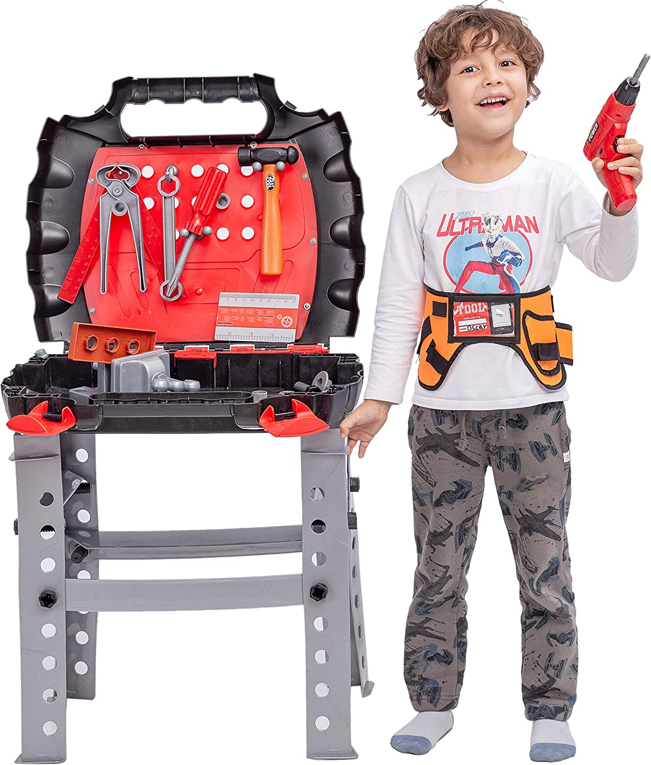 JOYIN 55 Pieces Workbench Tools Bench Toy Playset Kids Tool Work Shop Toy with Realistic Construction Tool and Accessories for Construction Workshop, Tool Bench Pretend Play