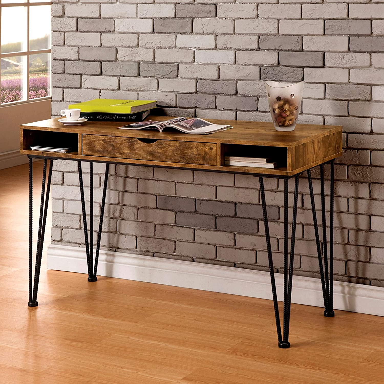 Amazon com a line furniture mid century industrial rustic design home office computer writing desk kitchen dining