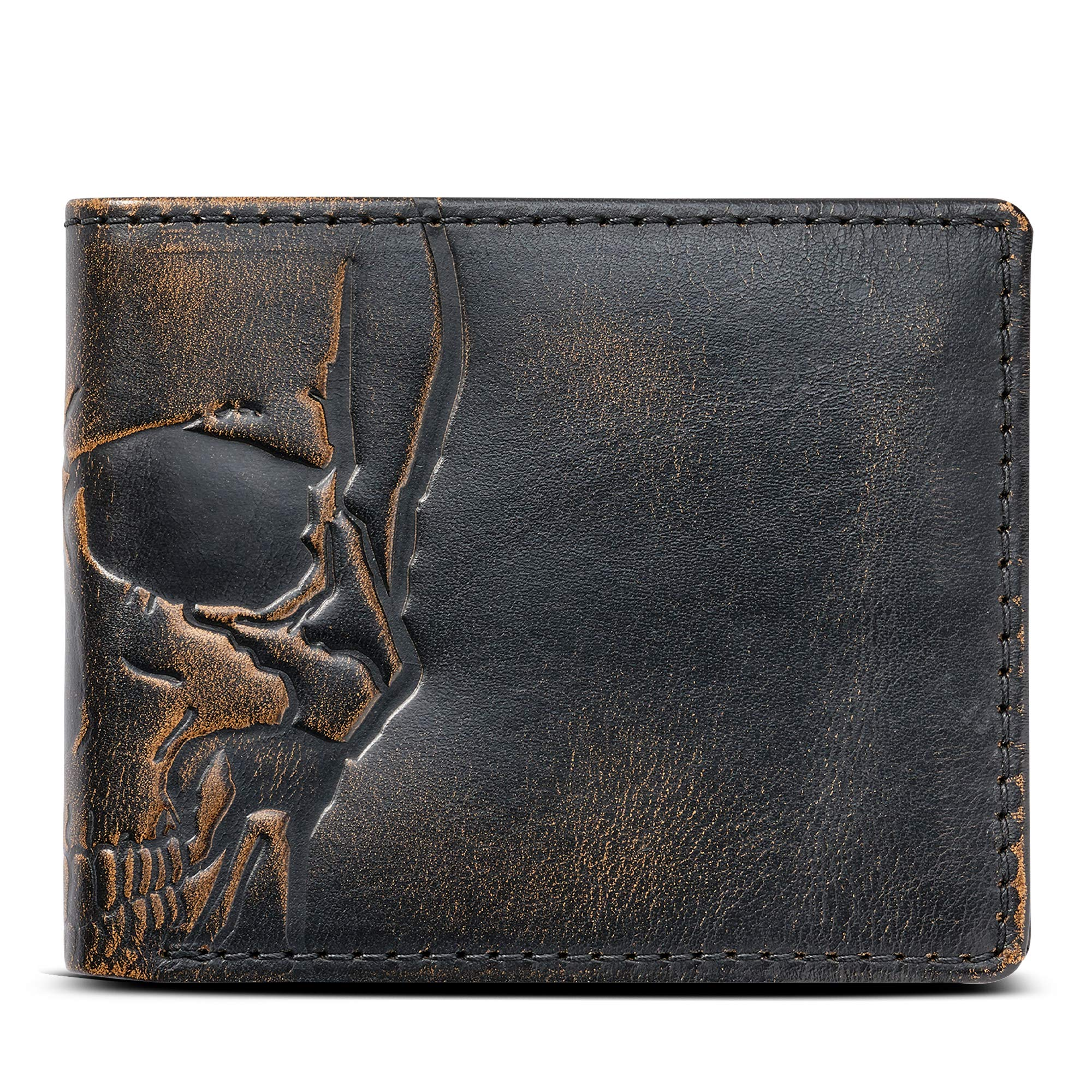 House of Jack Co. SKULL Wallet-Double ID Bifold-Full Grain Mens Leather Wallet-Multi Card Capacity