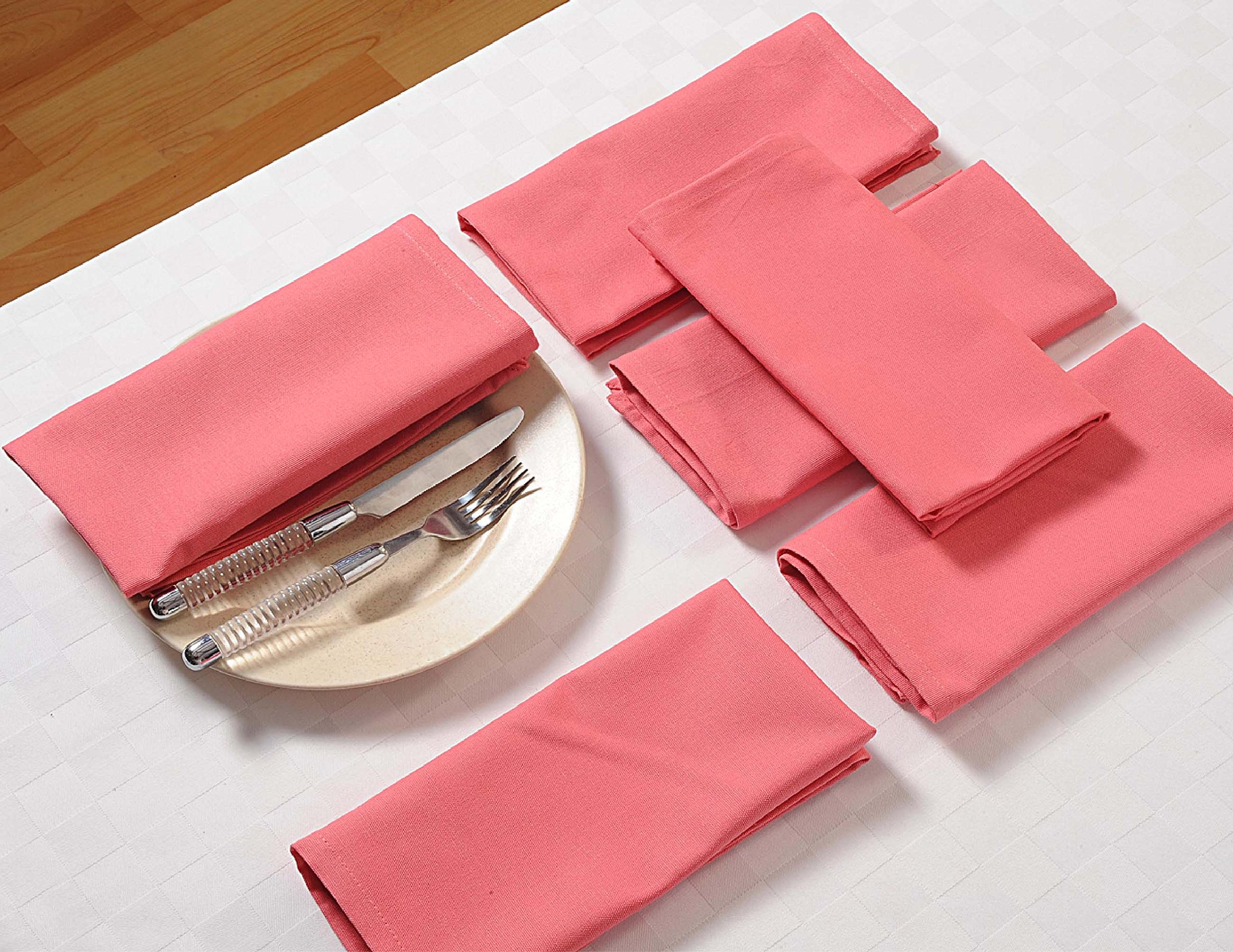 ShalinIndia Drink Beverage Cloth Napkins - 10'' x 10'' - Rose - Yellow - Set of 12 - Perfect for the Dining Room