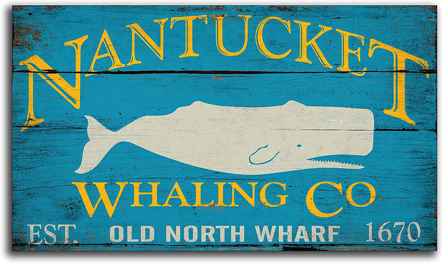Adonis554Dan Nantucket Whaling Co Sperm Whale Moby Dick White Whale Wooden Nautical Folk Art Sign Decor Sign Wall Decor Store Cottage Signs