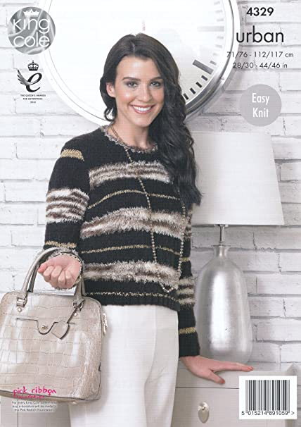 4360fb3d3676a1 ... King Cole Urban Knitting Pattern Ladies Womens Easy Knit Long Sleeved  Boxy Jacket Sweater (4329 ...