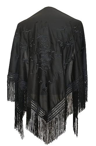 La Señorita Foulard cintura chale manton de manila Flamenco di danza nero con fiori neri