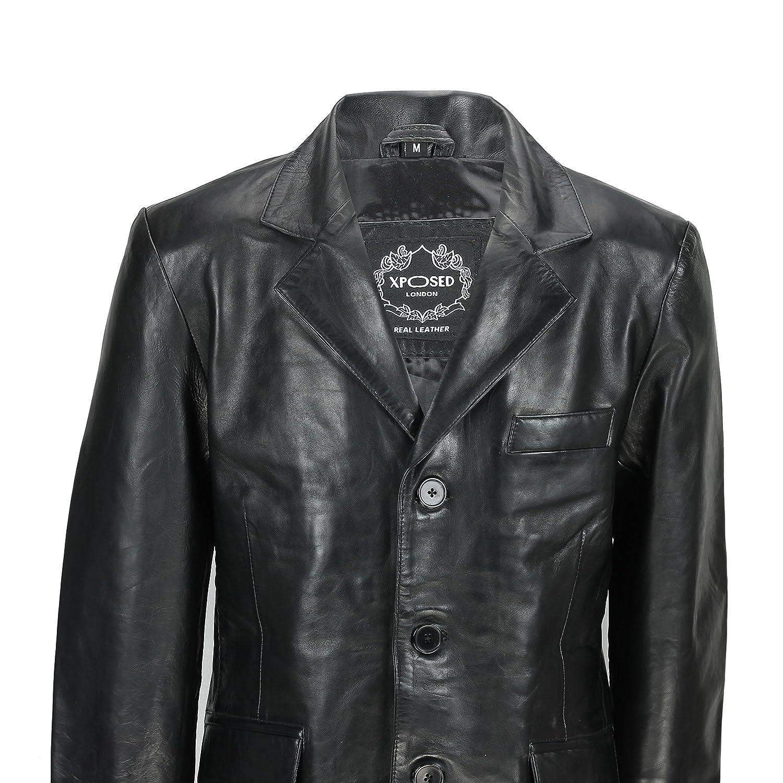 a48e0373b8 Giacca nera da uomo in morbida pelle di pecora, lunghezza media, stile  vintage
