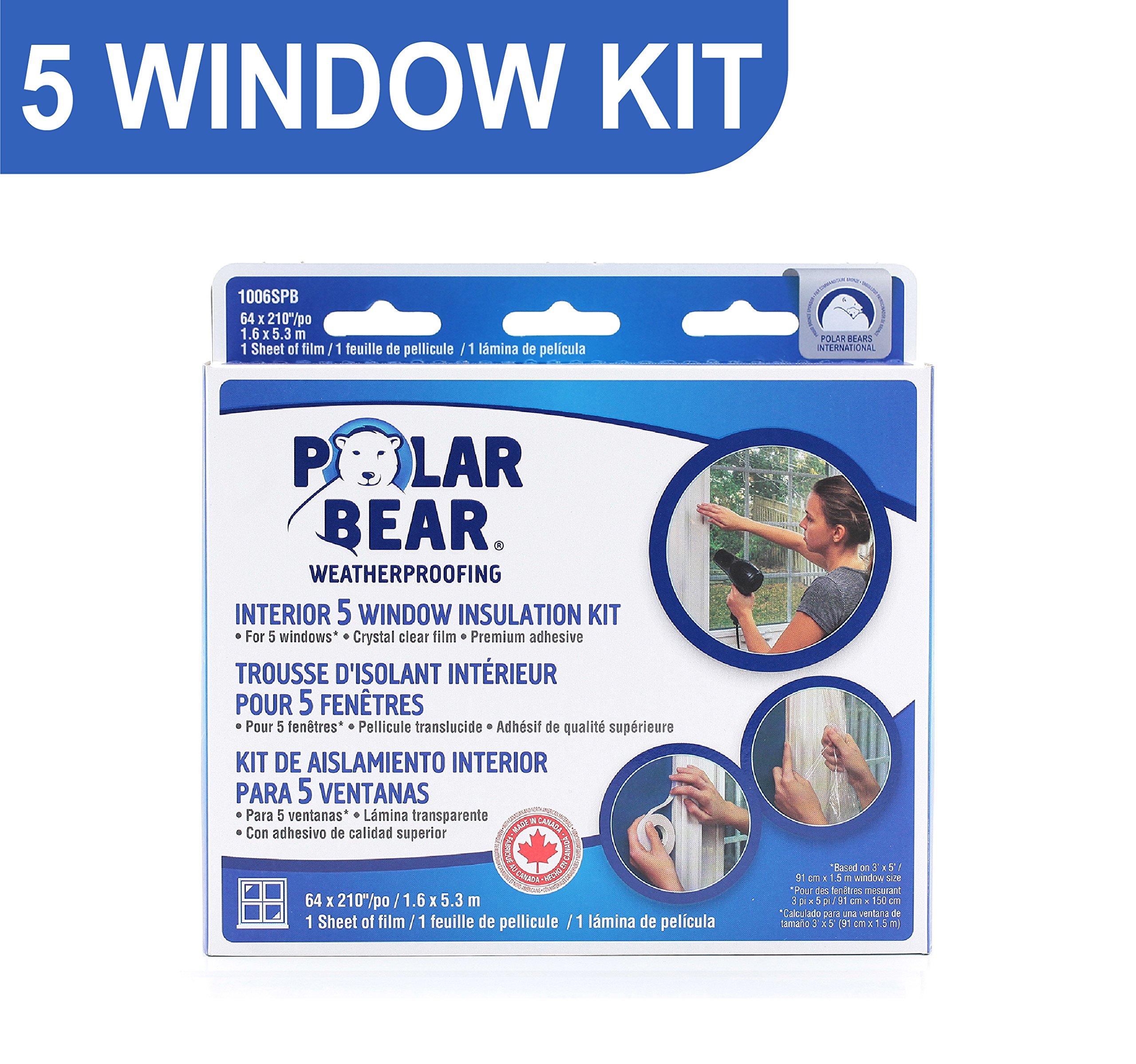 Polar Bear Weatherproofing Standard 5 Window Insulation Film Kit - 62 Inch x 210 Inch - Crystal Clear Film