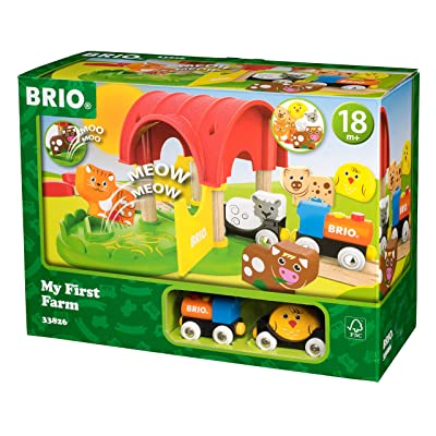 Brio World - 33826 My First Farm | 12 Piece Wooden Toy Train Set for Kids Ages 18 Months and Up: Toys & Games