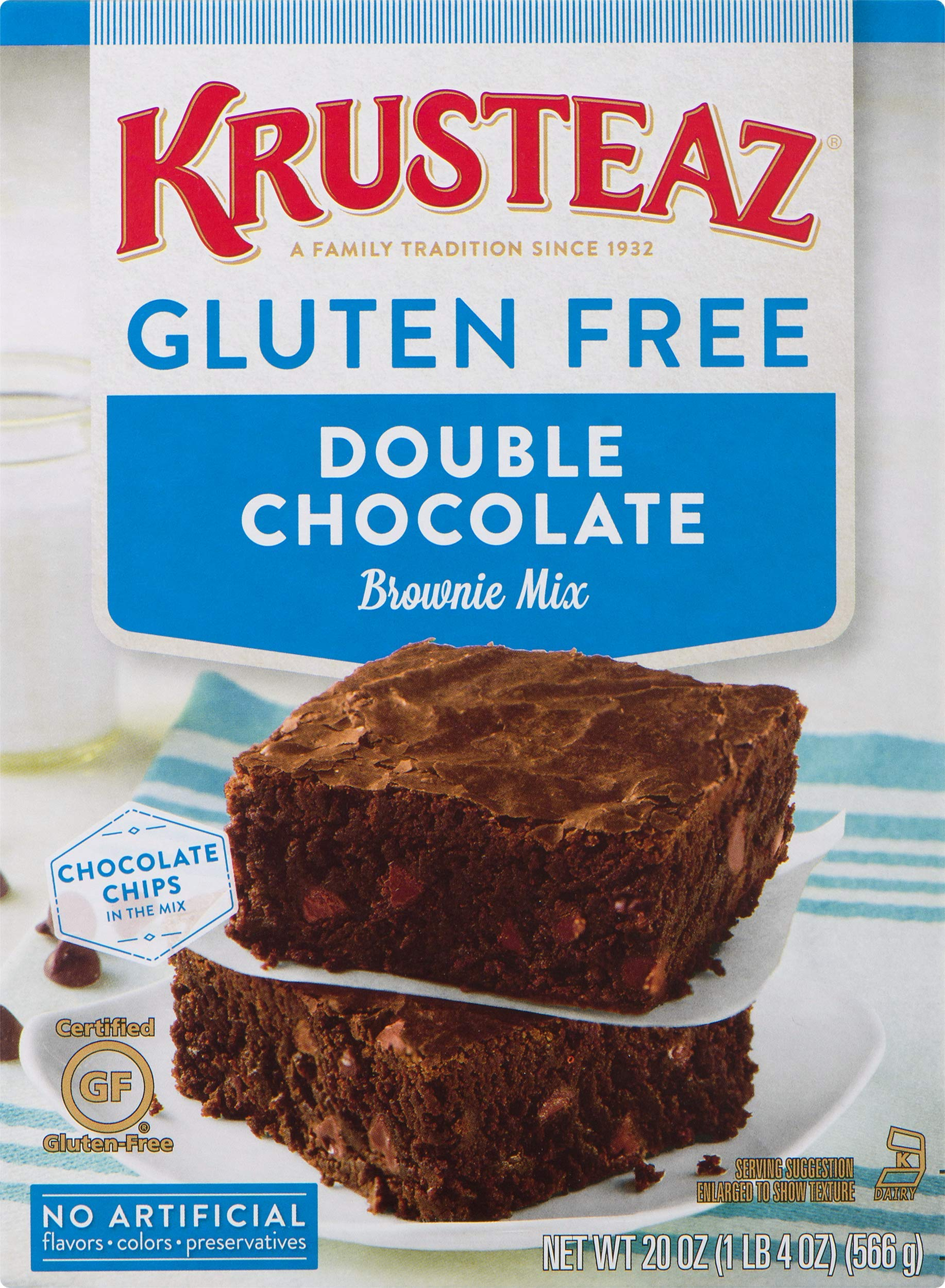 Krusteaz Gluten Free Double Chocolate Brownie Mix, 20-Ounce Boxes (Pack of 8) by Krusteaz