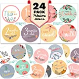 Monthly Baby Stickers - Huge 24 Pack of Baby Girl Onesie Belly Stickers. Includes 12 months, 1st year milestones & first holidays. Perfect baby shower & newborn birthday gift. (Floral)