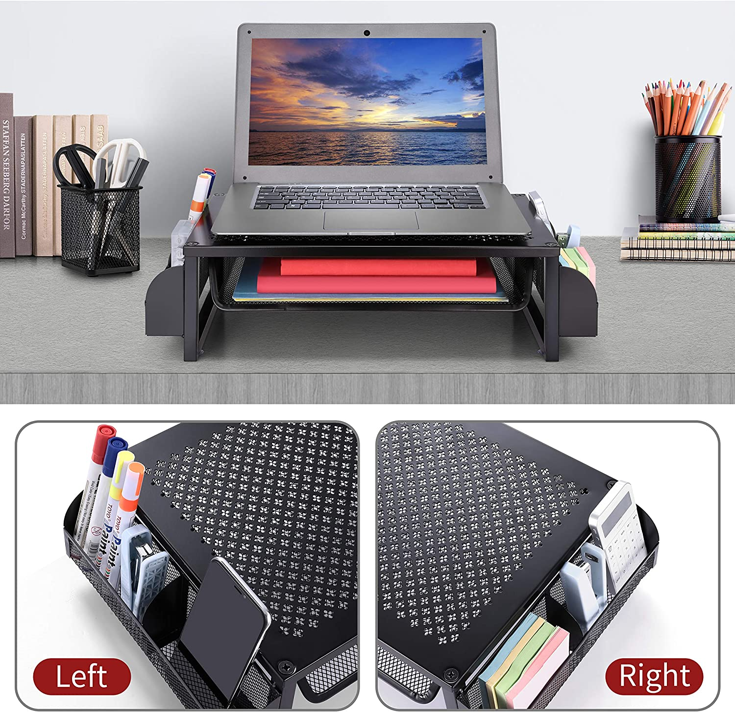 Simple Trending Metal Monitor Riser Stand and Computer Desk Organizer with Drawer, Black : Office Products