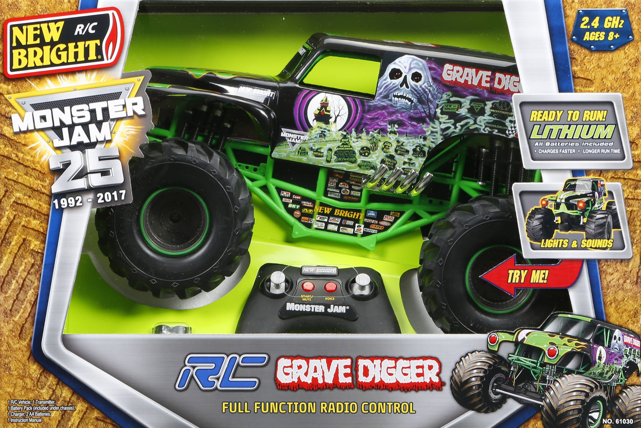 New Bright 61030G 9.6V Monster Jam Grave Digger RC Car, 1:10 Scale