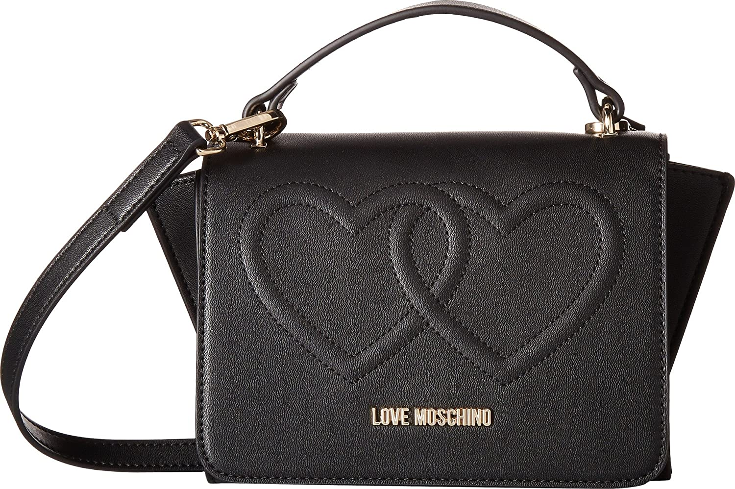 d715ce1ca3c6 Buy Love Moschino Women s Embossed Heart Crossbody with Handle Black One  Size Online at Low Prices in India - Amazon.in