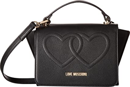 22c3ce4052 Love Moschino Women's Embossed Heart Crossbody with Handle Black One Size