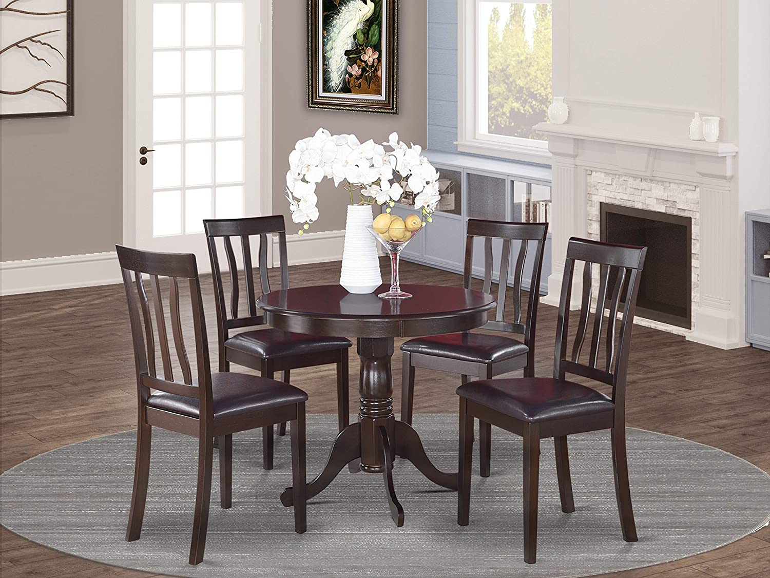 Amazon Com East West Furniture Dining Table Set 4 Fantastic Chairs For Dining Room A Gorgeous Wood Kitchen Table Pu Leather Seat And Cappuccino Finnish Dinner Table Table Chair Sets