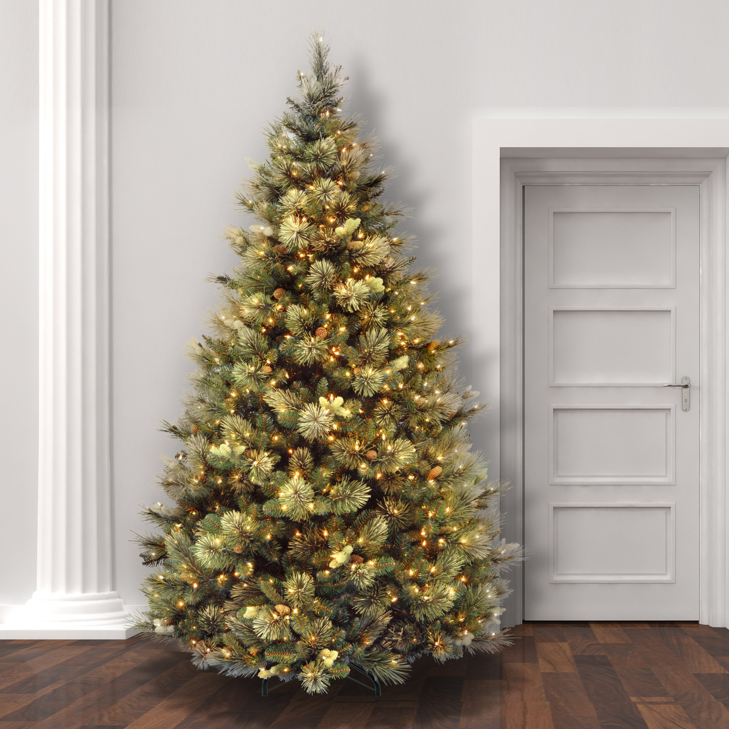 National Tree 7.5 Foot Carolina Pine Tree with Flocked Cones and 750 Clear Lights, Hinged (CAP3-306-75) by National Tree Company (Image #3)