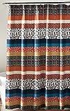 """Lush Decor Boho Stripe Shower Curtain, 72 x 72"""", Turquoise/Orange"""