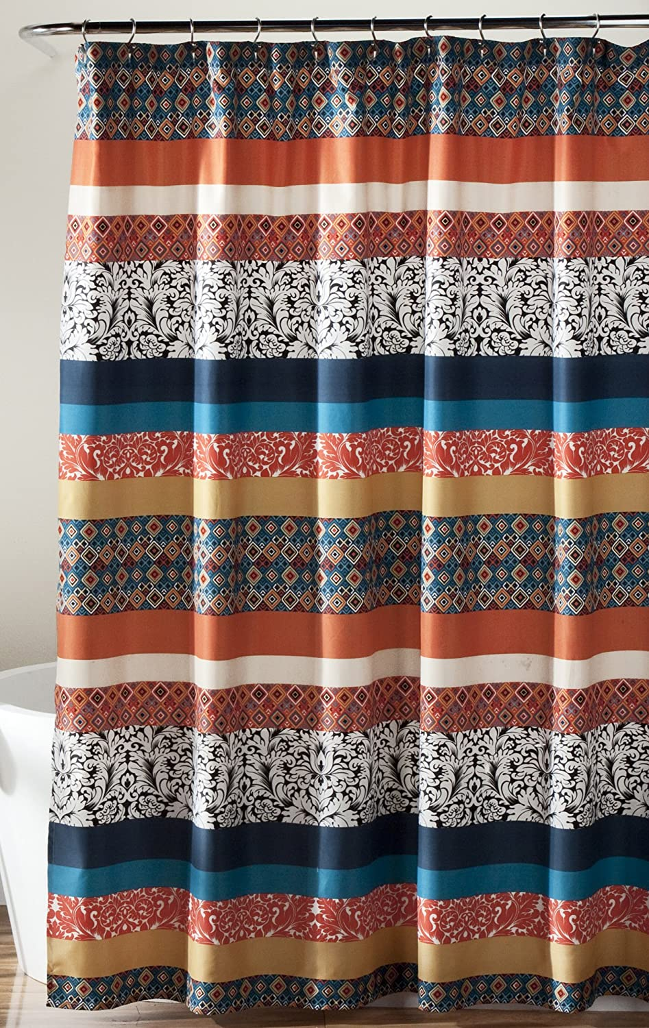"Lush Decor Bohemian Striped Shower Curtain Fabric Bathroom - Colorful Geometric and Floral Design, 72"" x 72"", Turquoise and Orange"