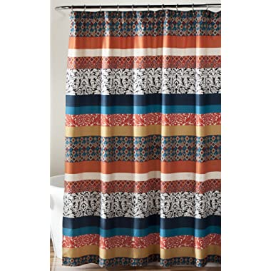 """Lush Decor Bohemian Striped Shower Curtain Fabric Bathroom - Colorful Geometric and Floral Design 72"""" x 72"""" Turquoise and Orange"""